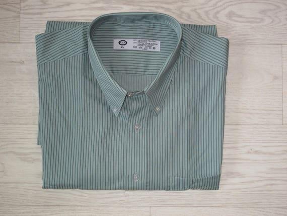 C/&A men/'s shirt sage greengrey stripe size XL as new