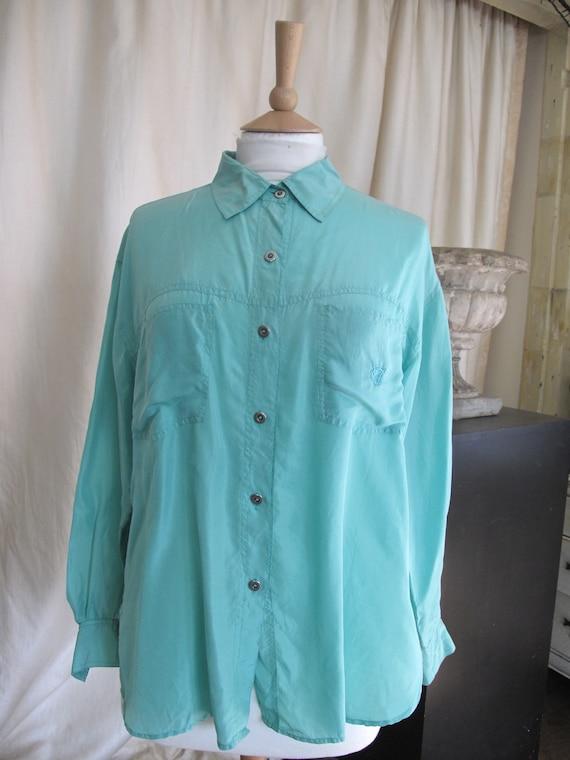 Gloria Vanderbilt green silk shirt blouse size Med