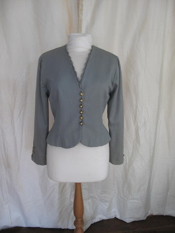 Lee Bender lace up fitted bolero jacket, greyish t
