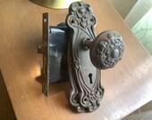 Vintage antique metal cast Ornate Door Knob Backplates mortise doorknob
