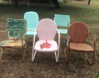 Vintage Lot Mid Century Original Metal Lawn Pool Patio Chair Retro Mcm Retro