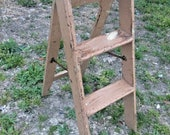 VINTAGE WOODEN FOLDING step stool ladder shabby country primitive plant stand
