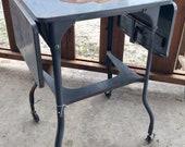 VTG industrial Metal Drop Leaf Typewriter Table Stand mid century desk laptop 2