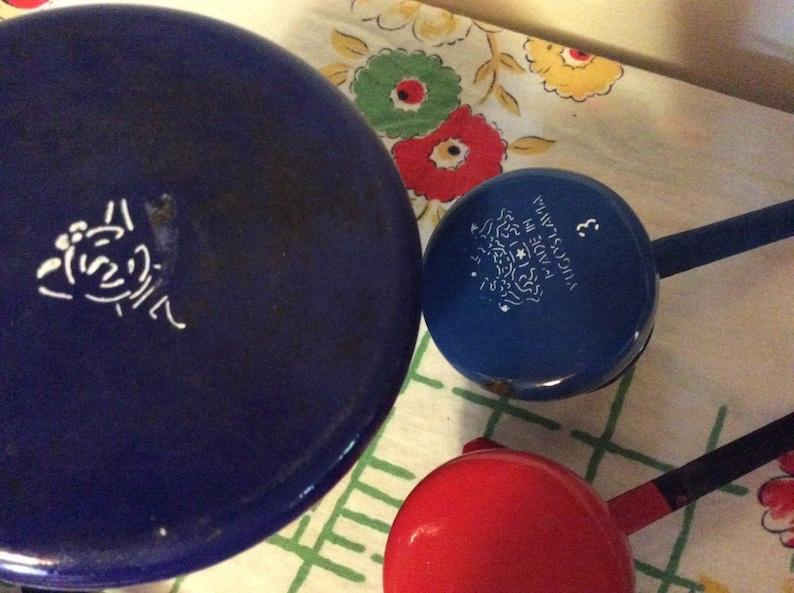 Lot of 4 Vintage Enamelware enamel Dipper Red Blue Green Poland Yugoslavia