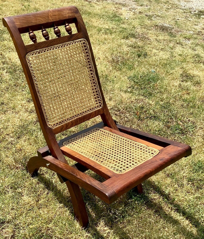 Cool Vintage Cane Folding Wood Wooden Deck Patio Pool Lawn Chair Mid Century Modern Inzonedesignstudio Interior Chair Design Inzonedesignstudiocom