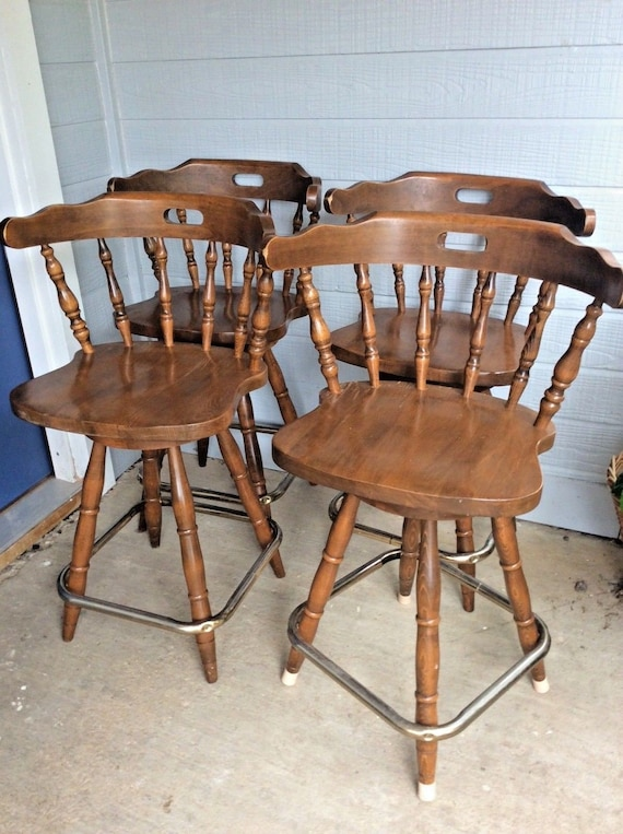 Vintage 4 Wood Wooden Windsor Captain Swivel Chair Bar