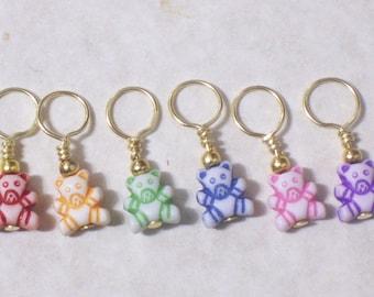 no snag knitting stitch markers, rainbow teddy bear beads, set of 6