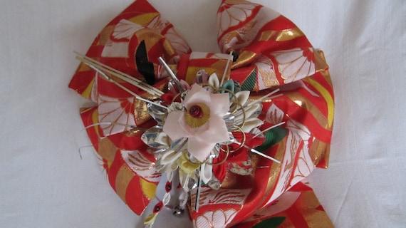 Vintage Japanese Girl/'s Obi Bow Tsuke Obi Kimono Brocade Red Gold 60/'s