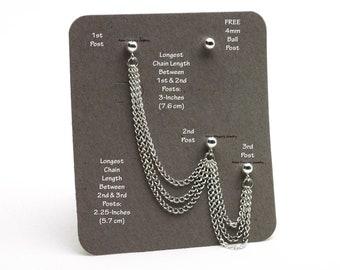 Triple Stud Bajoran Cartilage Chain Earring, Silver Bajoran Earring, Silver Stud Earrings, Silver 3 Stud Chain Earring, Triple Stud Earrings