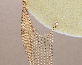 Gold Cartilage Chain Earrings, Gold Helix Chain Earrings, Cascade Cartilage Chain Earring, Gold-Filled Bajoran Earrings, Gold Stud Earrings