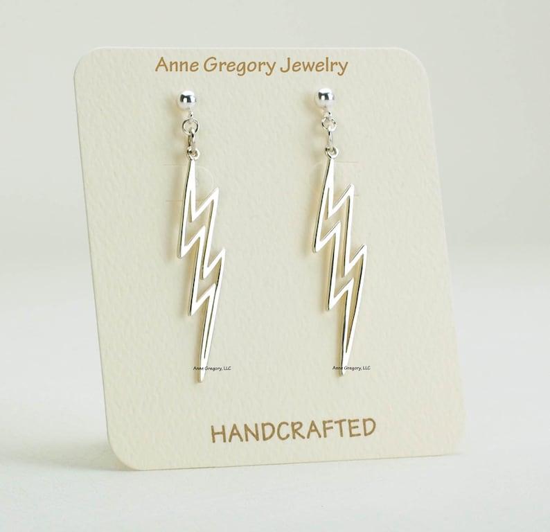 c7a26c9c0 Silver Open Lightning Bolt Post Earrings Lightning Bolt | Etsy