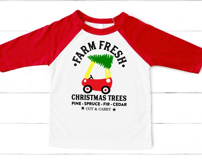 Kid Christmas shirt- Child Christmas shirt Funny christmas shirt- Girls christmas- Merry Christmas shirt - tree on toy car shirt