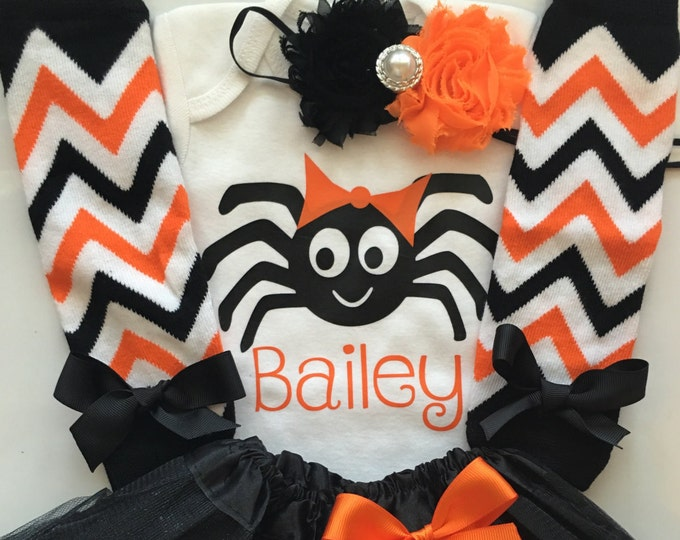 Baby Girl Halloween Outfit -- Personalized Spider