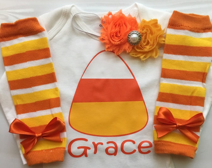 Baby Girl Fall Outfit - Baby Girl Thanksgiving outfit - Candy Corn Cutie - Pumpkin Patch photo outfit - Choose your pieces