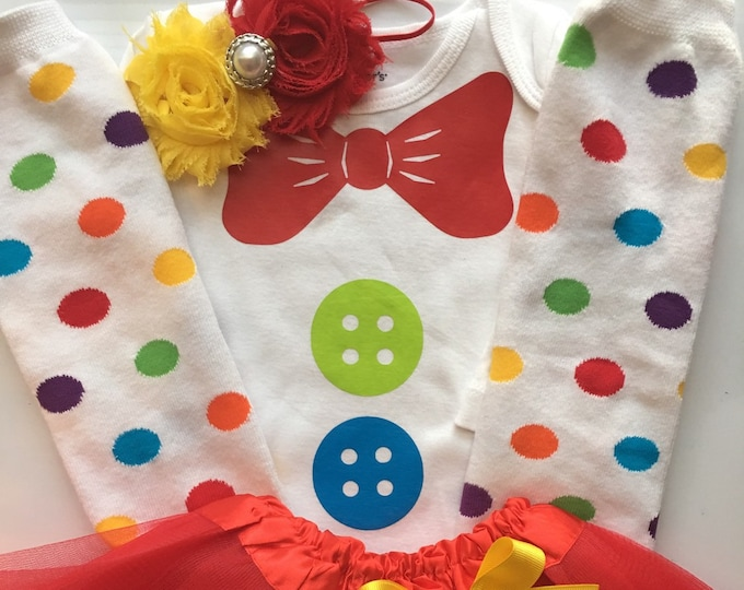 Girl's Clown outfit - Circus outfit-  Carnival Birthday Party Outfit - Circus Birthday Party- Baby girl clown costume - Sizes NB--5T