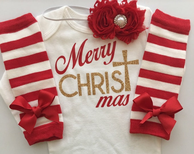 Baby girl Christmas  outfit - Merry CHRISTmas- baby girl 1st Christmas - baby girl church outfit - girl's Christmas outfit - 3 piece set