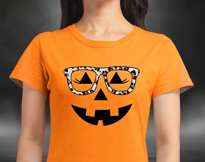 Kid's Jack-o-lantern Halloween Shirt- Teen Halloween shirt - Girl's Halloween - Pumpkin with glasses YOUTH sizes