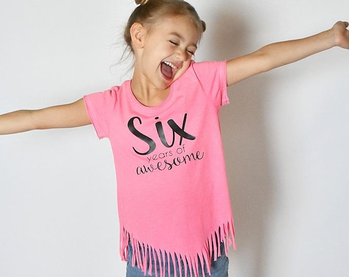 Girl's Birthday Fringe Shirt- CUSTOM