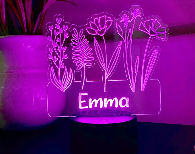 Personalized Kid's Night Light - LED Night Light- CUSTOM night light - color changing night light - kids room decor -Girl's LED gift- Decor