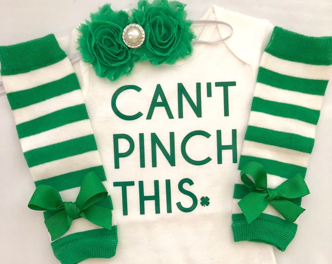 Infant baby girl St. Patricks Day Outfit- 1st st patricks day out - baby girl outfit - newborn st patricks day outfit - Can't Pinch This