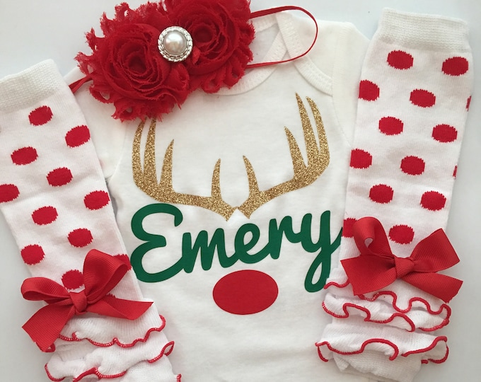 Baby Girl Christmas outfit - Personalized Reindeer