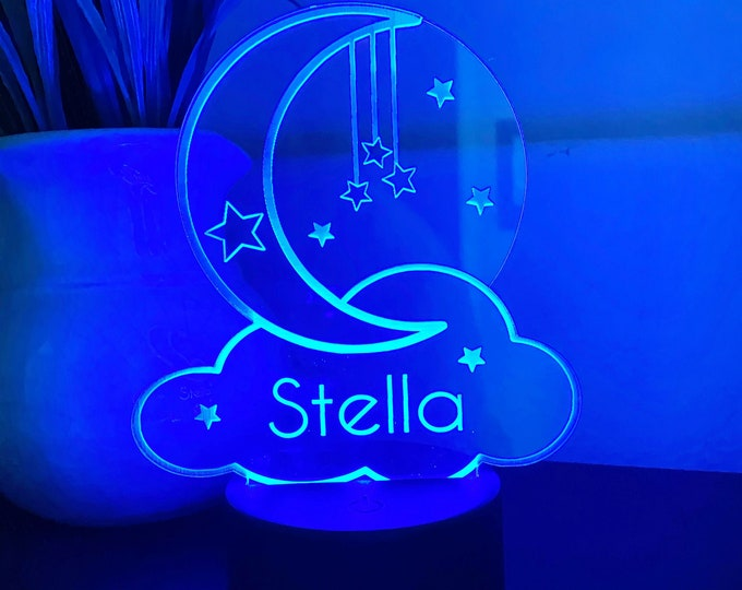 Personalized Kid's Night Light - LED Night Light- CUSTOM night light - color changing night light - kids room decor -Nursey room decor