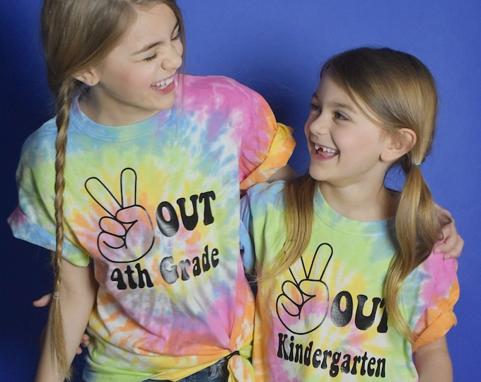 Kid's Tie Dye shirt - End of school shirt - Peace out shirt, CUSTOM- available in all grades