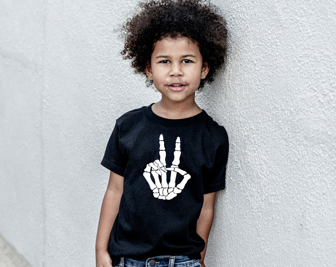 Kid's Halloween shirt - Skeleton hand peace sign - Peace love Halloween - Fall shirt - Halloween mom shirt