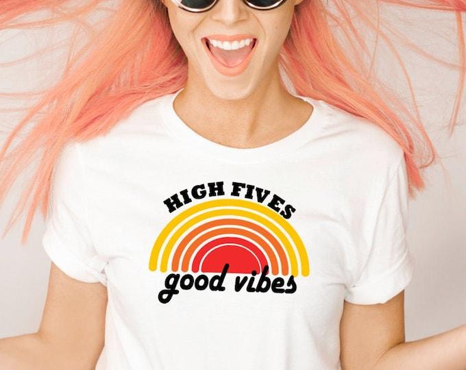 Women's Kids fashion t-shirt - High Fives Good Vibes - vintage t-shirt - Teen fashion shirt - Juniors fashion shirt - Retro style 70s shirt
