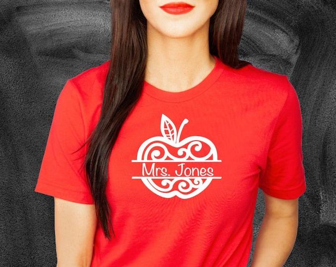 Back to school shirt- Teacher school shirt - 1st day of school shirt - Personalized apple - CUSTOM