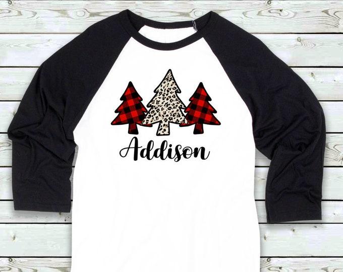 Girl's and Adult Christmas shirt - Kid's Holiday shirt - leopard buffalo plaidshirt- personalized Christmas shirt- Women's Christmas shirt