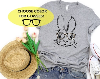 Rabbit With Glasses T shirts Kids Tees Tops Youth Funny Cute Hipster
