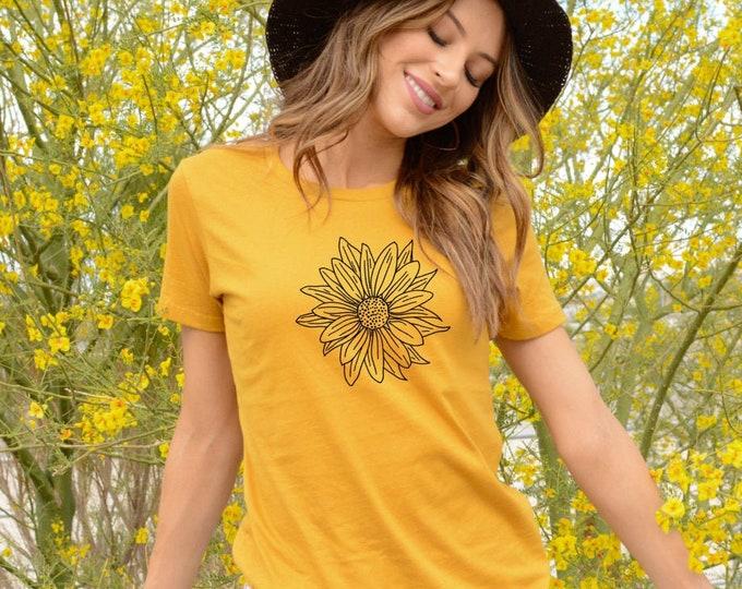 Women's fashion t-shirt - Juniors tee - Girl's tshirt - Teen fashion - Teen clothing - Sunflower shirt