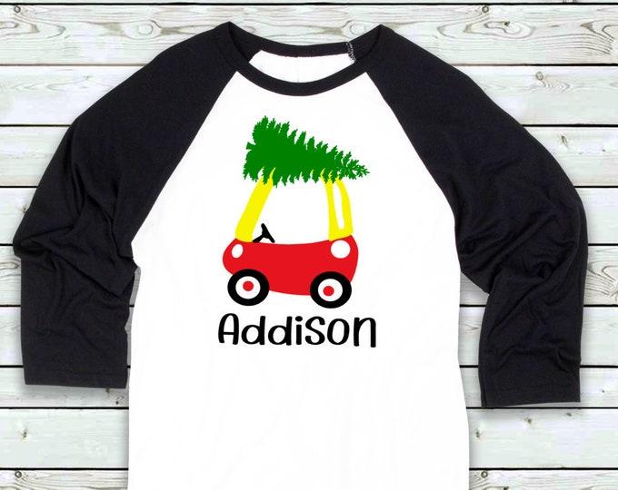 Kid Christmas shirt- Child Christmas shirt Funny Christmas shirt- Merry Christmas shirt - tree on toy car shirt- personalized