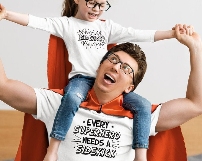 Father's Day gift- Dad shirt - Daddy and me shirt -Superhero sidekick shirt - Daddy and kid shirt - Dad and kid shirt- TWO PACK