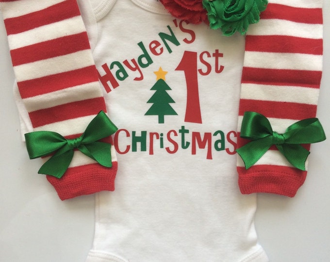 Baby Girl 1st Christmas outfit - Preemie Newborn and 3 month My first Christmas Outfit- personalized christmas outfit