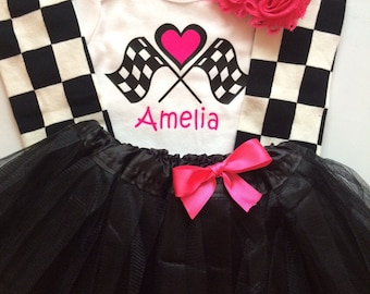 64591e3dfd09 Baby Toddler Girl Race Day Outfit - checkered outfit - personalized baby  outfit - baby girl photo prop-Race day with TUTU