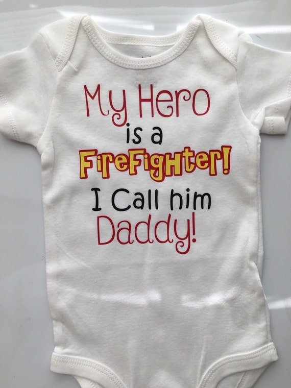 4e5c5cbea Firefighter Daddy - Baby boy - Baby girl firefighter bodysuit- My Daddy is  a Hero- Fireman Hero- Preemie-5T