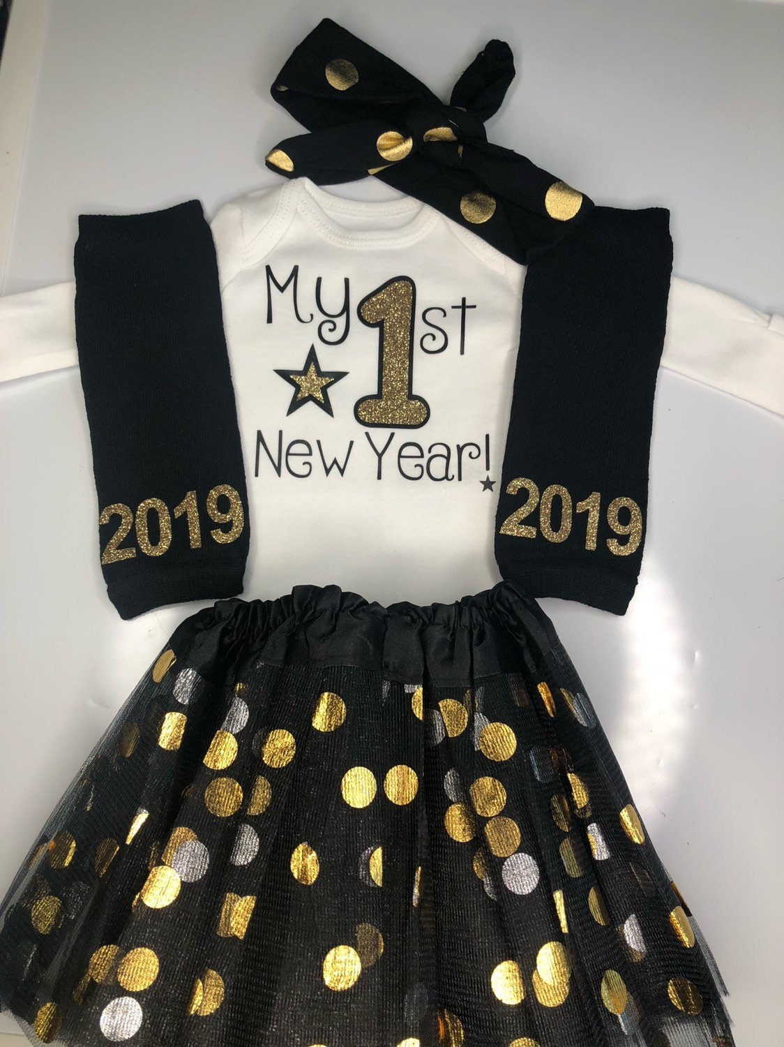 058e316283cfb ... outfit - baby girl photo prop- gold black New Years tutu. gallery photo  ...