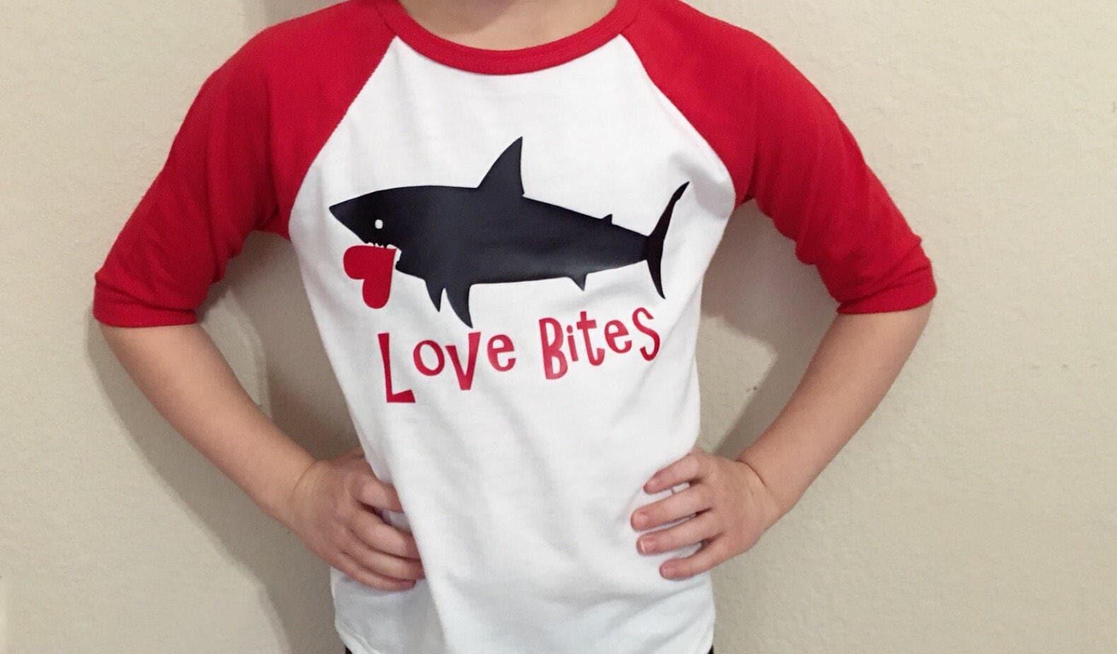 3774fc6c ... raglan Love bites shirt - kids Valentines Shark- 3/4 Sleeve. gallery  photo gallery photo