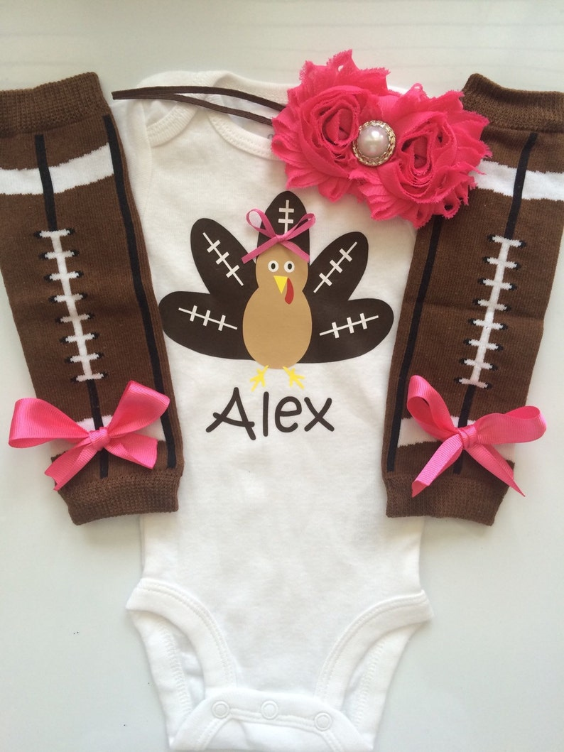 3327622ac INFANT girl Thanksgiving outfit Football turkey   Etsy