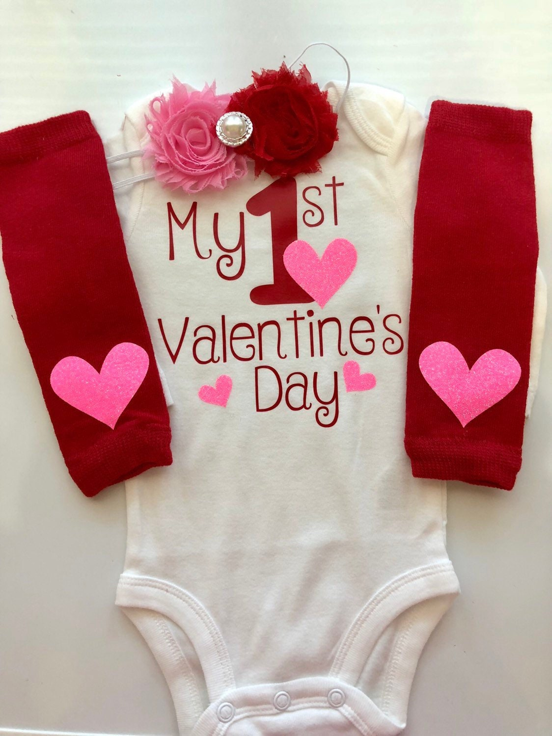 013cfc60c Baby Girl Outfit - Baby Valentines Day outfit - valentines photo shoot ...