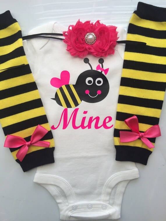 Baby Girl Valentine S Day Bee Mine Outfit Valentines Etsy