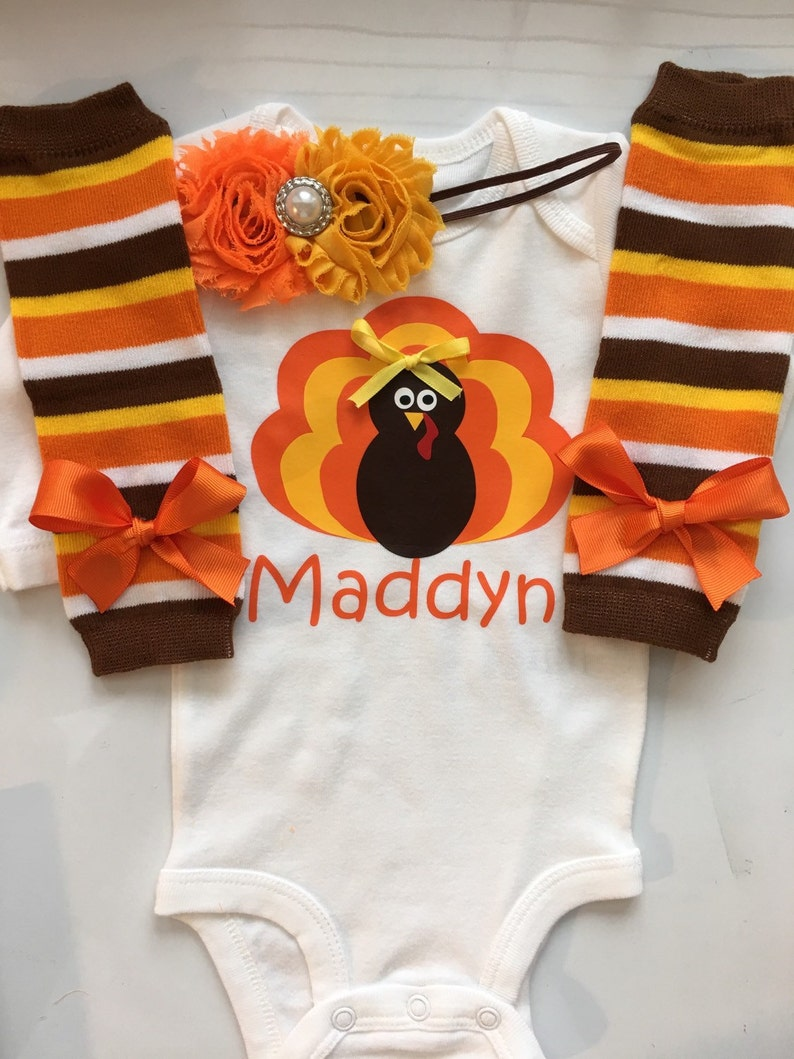 b870444fa INFANT girl Thanksgiving outfit personalized baby turkey   Etsy