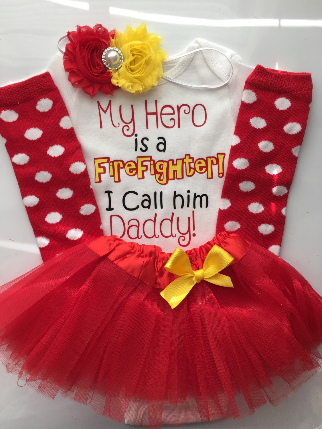 d9f78982a Baby Girl outfit -Father s Day baby outfit- Firefighter Dad- Firefighter ...