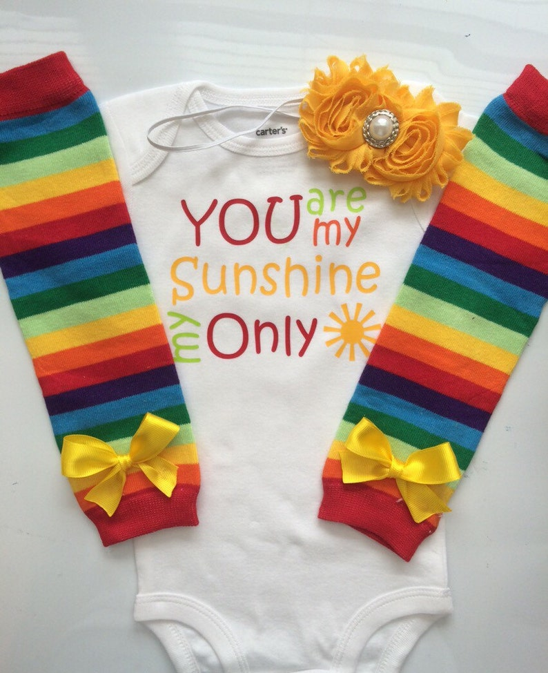 rainbow outfit legwarmers baby summer outfit Baby Girl Outfit-You Are My Sunshine newborn girl outfit