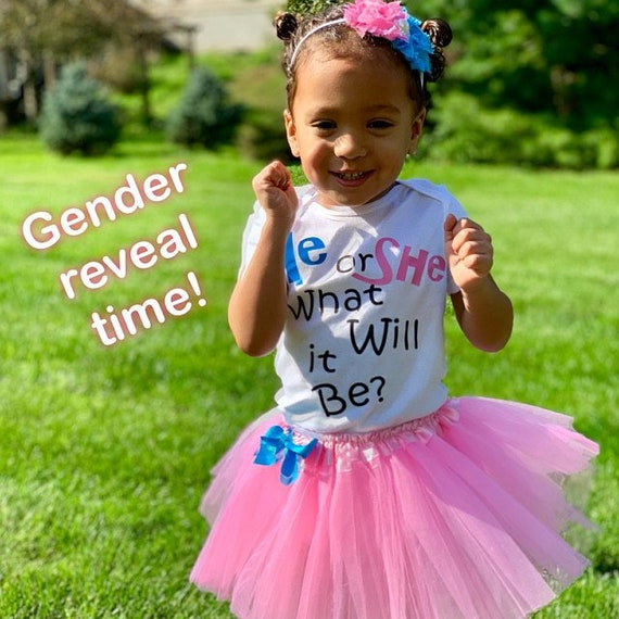TODDLER  girl outfit-with tutu Gender Reveal Party- Baby outfit- Big SIS - Baby headband Big sister Big sister shirt
