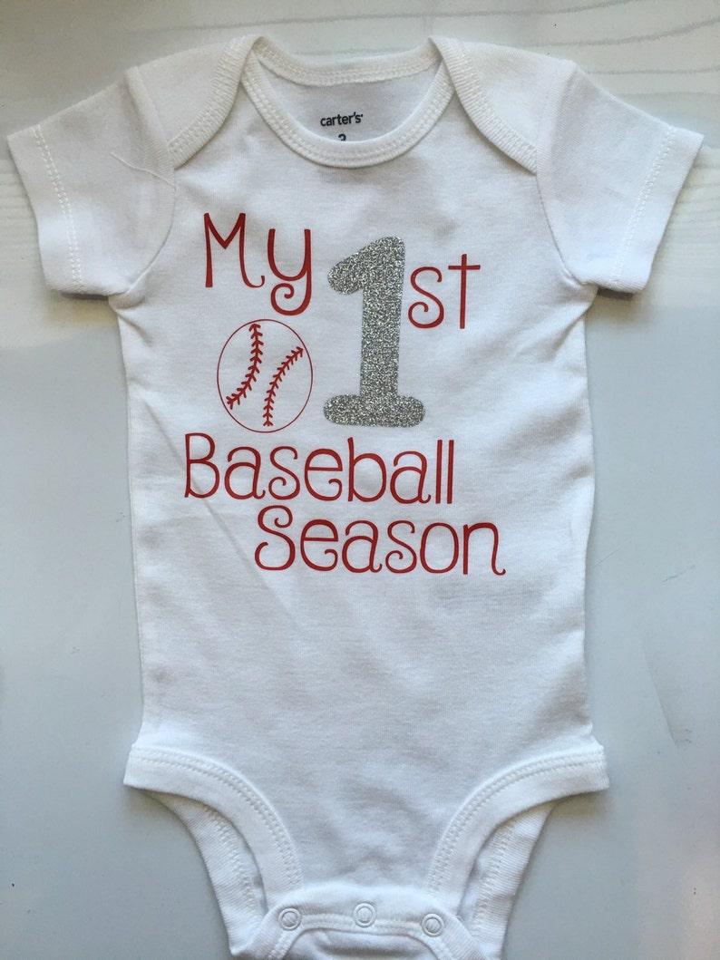 baseball outfit baseball bodysuit base ball leg warmers- choose your pieces Baby Girl Baseball Outfit- My 1st Baseball Season