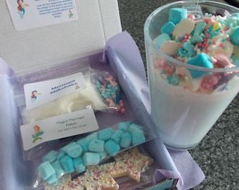Mermaid Milkshake kit for kids, letterbox gift, mermaid lovers, magic milkshake party favour, Make your own milkshake craft diy kit for kids