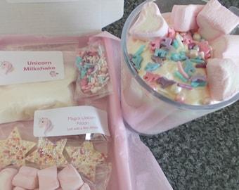Unicorn Milkshake kit for kids, letterbox gift, unicorn lovers, magic milkshake party favour, Make your own milkshake craft diy kit for kids